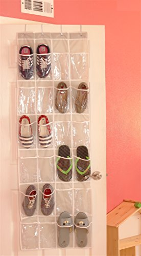 24 Pockets Simplehouseware Crystal Clear Over The Door Hanging Shoe Organizer