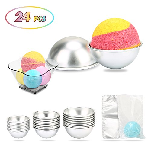 24 PCS 3 Sizes DIY Metal Bath Bomb Mold Soap Making Molds DIY Bath Bomb Molds Soap Metal Molds Soap Making Supplies Kits DIY Bath Balls Shape for Crafting Bath Bomb Each size 8PCS