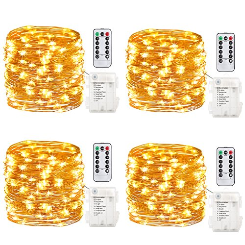 Gdeaer Ts11 4 Pack 16 Feet 50 Led Fairy Lights Battery Operated With Remote Control Timer Waterproof Copper Wire Le String For Bedroom Indoor