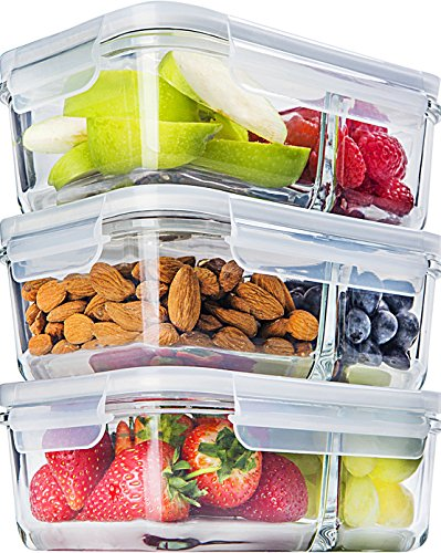 3 Pcs Glass Meal Prep Containers Glass 2 Compartment Glass Food