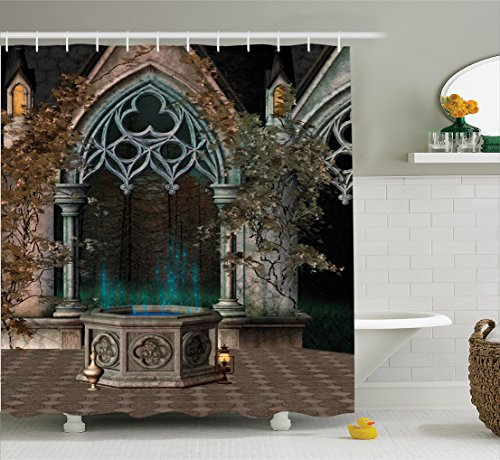 Curtain Mystic Patio With Enchanted Wishing Well Ivy On Antique Gateway To Magical Forest Polyester Fabric Bathroom Set Hooks 75 Inches Long