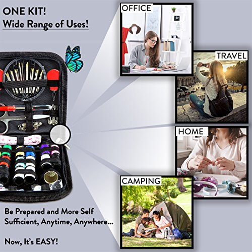Portable /& Complete Mini SEWING KIT for Sewing Repairs at Home /& in the Office