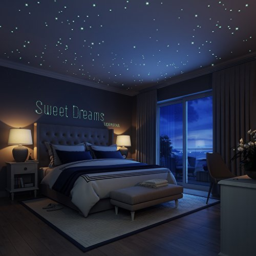 glow in the dark stars wall stickers,252 adhesive dots and moon for