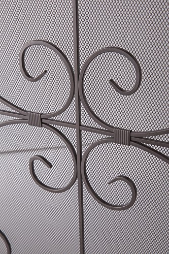 Crest Fireplace Screen Solid Wrought Iron Frame With Metal Mesh Decorative Scroll Design