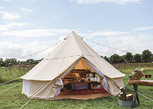 Dream House Luxury Outdoor Waterproof Four Season Family Camping And Winter Glamping Cotton Canvas Yurt Bell Tent With Mosquito Screen Door And