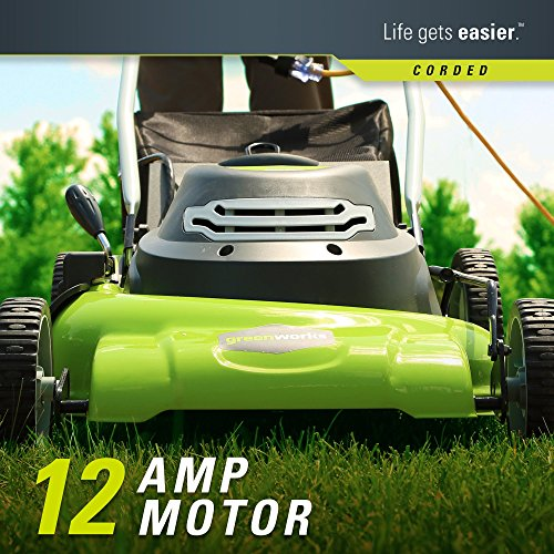 Greenworks 20 Inch 12 Amp Corded Lawn Mower Tag Level