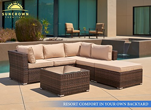 SUNCROWN Outdoor Patio Furniture 4-Piece Wicker Sofa Set ...