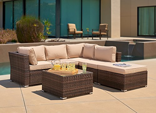 SUNCROWN Outdoor Patio Furniture 4-Piece Wicker Sofa Set with Waterproof  Cover, Washable Seat Cushions and Glass Coffee Table, Brown